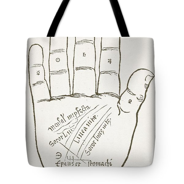 Antique Palmistry Diagram  The Right Hand, Principal Lines Tote Bag
