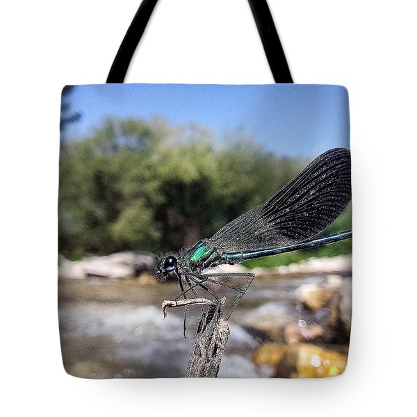 Tote Bag featuring the photograph The River Dragonfly by Stwayne Keubrick