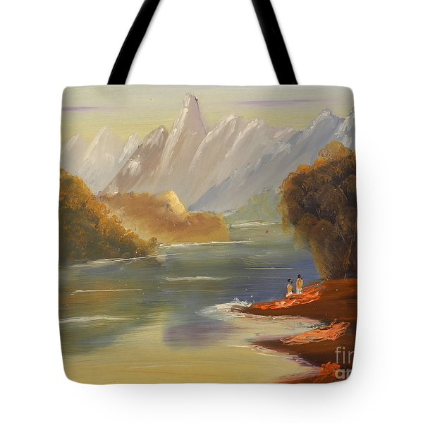 The River Flowing From A High Mountain Tote Bag