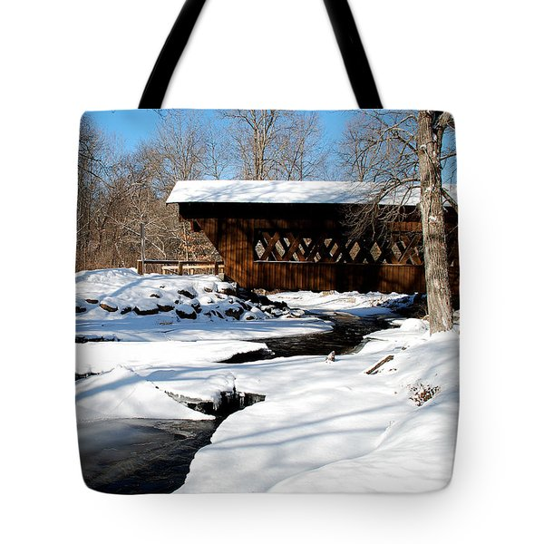 The River Flows Under The Springwater Covered Bridge Tote Bag