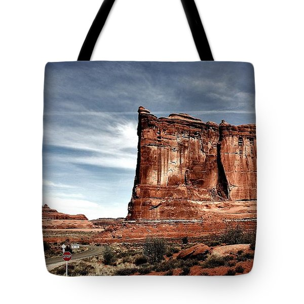 The Road Through Arches Tote Bag by Benjamin Yeager