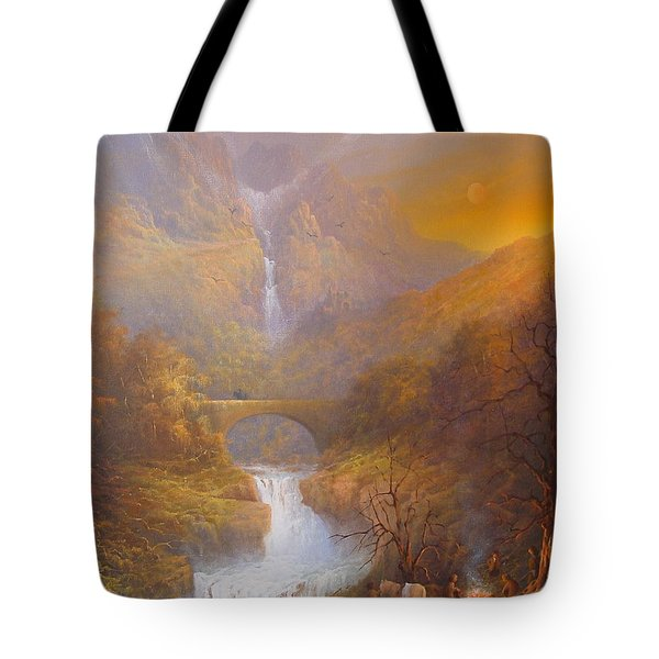 The Road To Rivendell The Lord Of The Rings Tolkien Inspired Art  Tote Bag by Joe  Gilronan