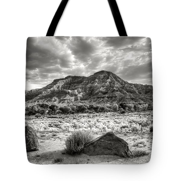 Tote Bag featuring the photograph The Road To Zion In Black And White by Tammy Wetzel