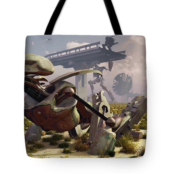 The Robot Rebellion Of Year 2150 Tote Bag by Mark Stevenson
