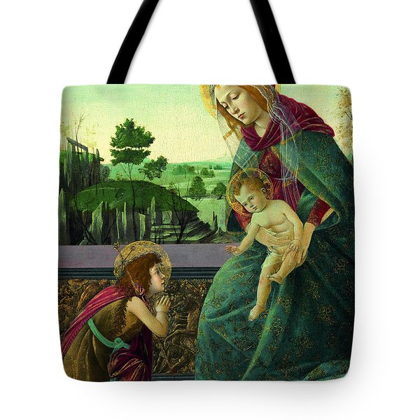 The Rockefeller Madonna. Madonna And Child With Young Saint John The Baptist Tote Bag