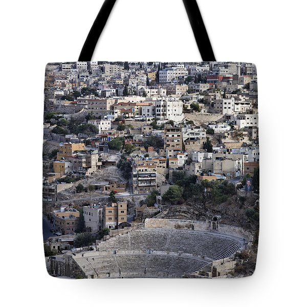 The Roman Theatre In The Middle Of The City Of Amman Jordan Tote Bag by Robert Preston