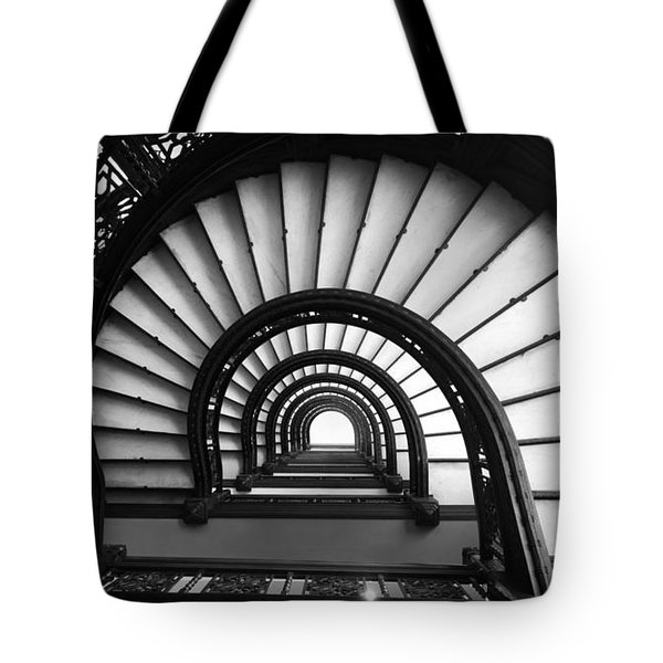 The Rookery Staircase In Black And White Tote Bag