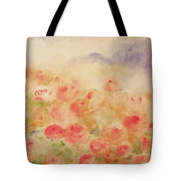 Tote Bag featuring the painting The Rose Bush by Laurie L