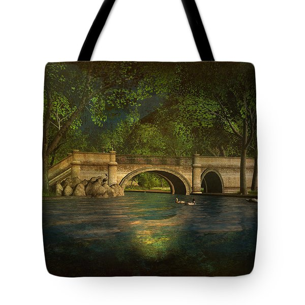 Tote Bag featuring the digital art The Rose Pond Bridge 06301302 - By Kylie Sabra by Kylie Sabra