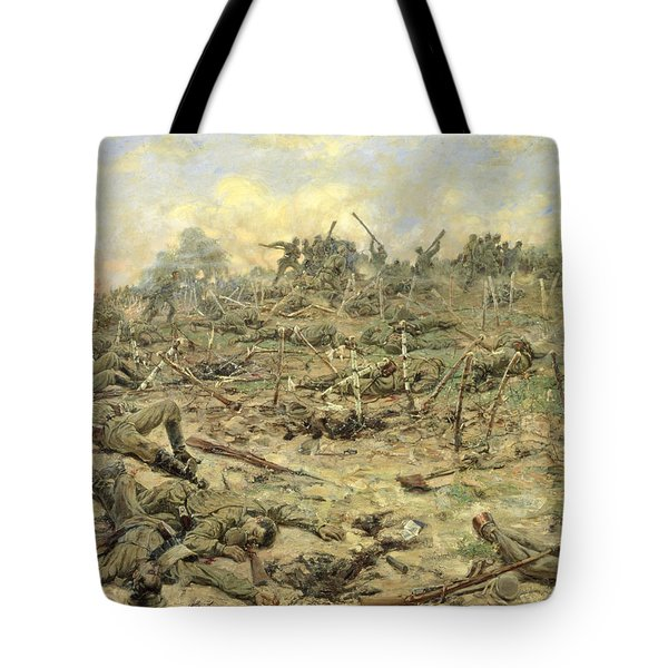 The Russian Infantry Attacking The German Entrenchments Tote Bag