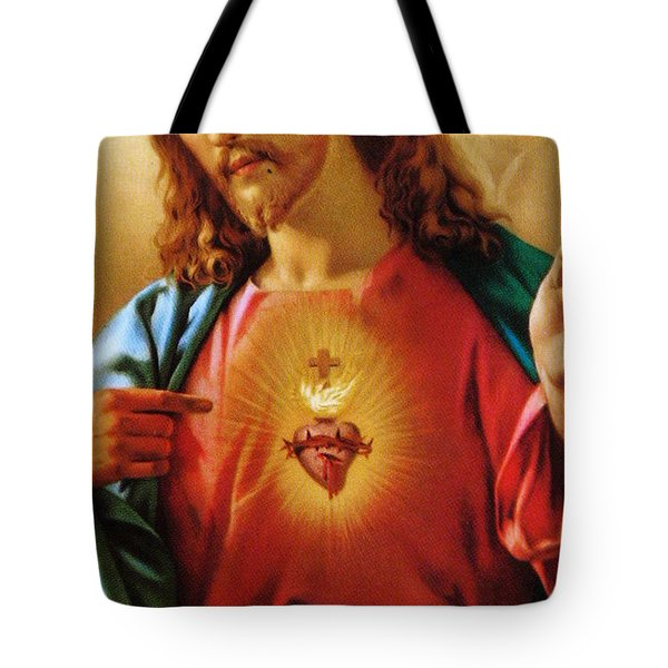 The Sacred Heart Of Jesus Tote Bag by French School