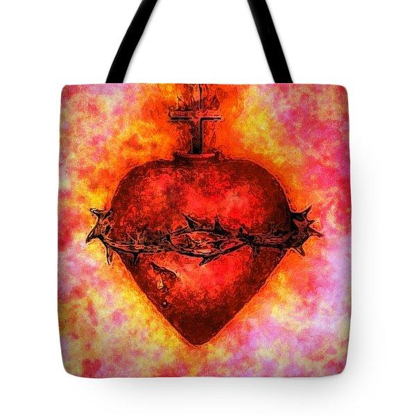 The Sacred Heart Of Jesus Christ Tote Bag