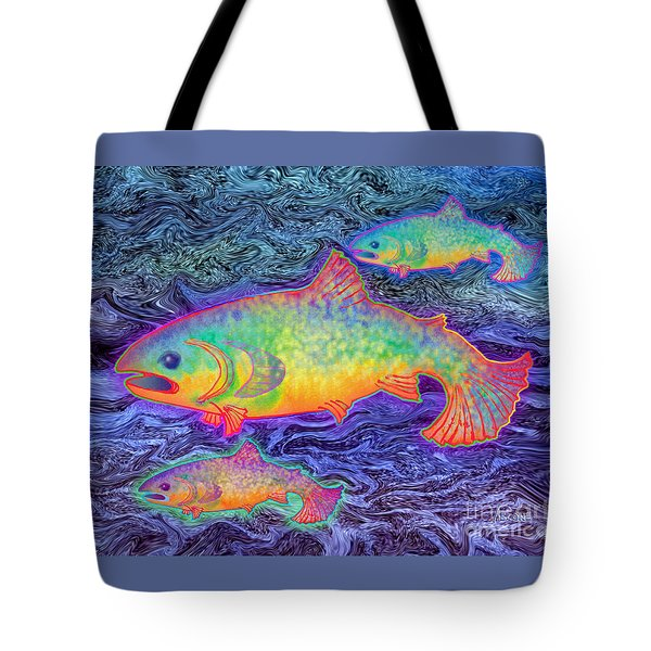 Tote Bag featuring the mixed media The Salmon King by Teresa Ascone