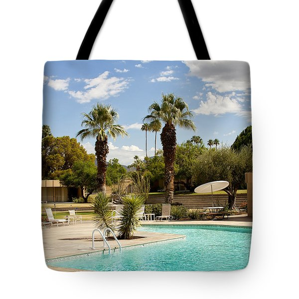 The Sandpiper Pool Palm Desert Tote Bag by William Dey