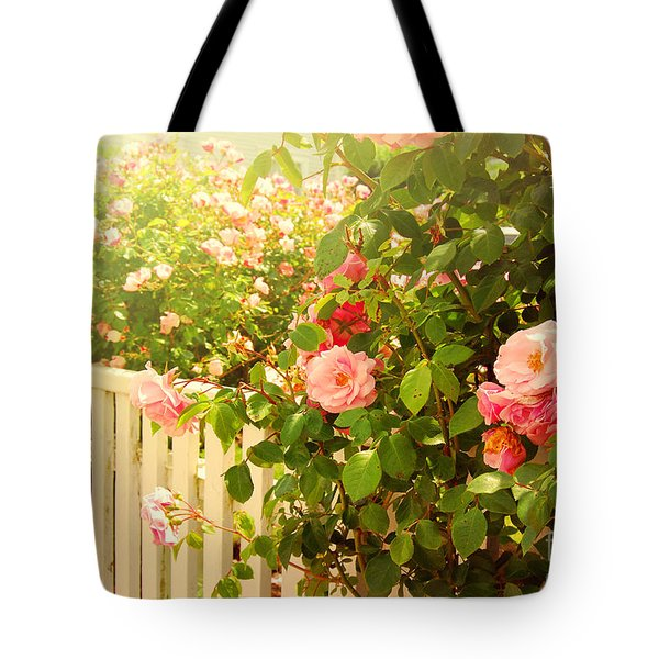 The Scent Of Roses And A White Fence Tote Bag