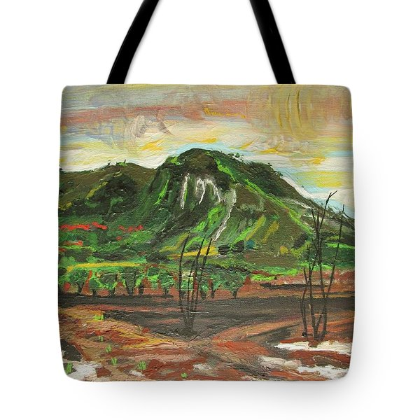 Tote Bag featuring the painting The Scorched Valley by Mudiama Kammoh