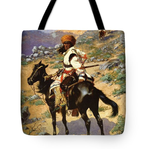 The Scout Friends Or Enemies Tote Bag by Frederic Remington