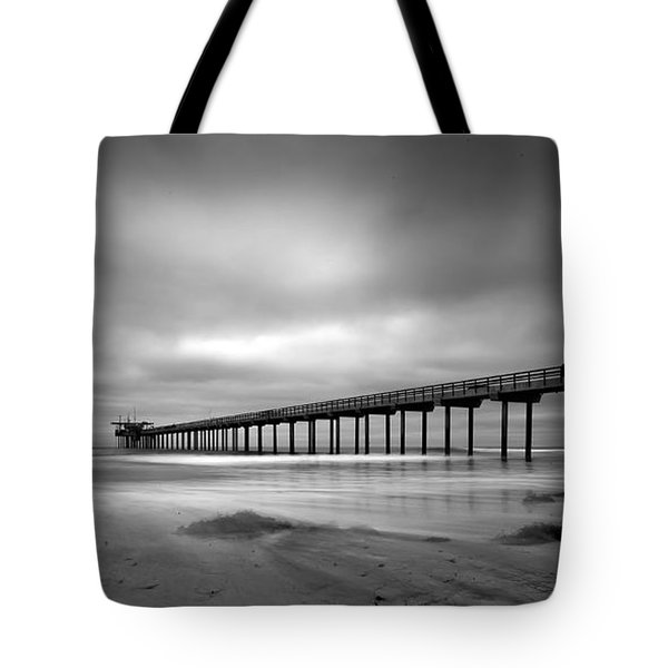 The Scripps Pier - Black And White Tote Bag