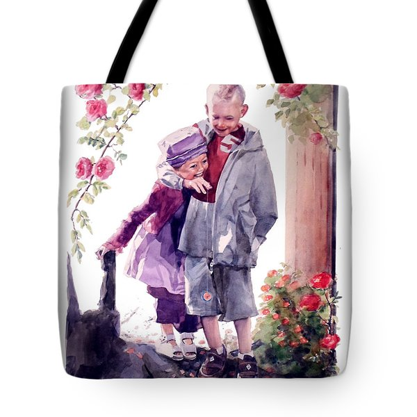 Watercolor Of A Boy And Girl In Their Secret Garden Tote Bag