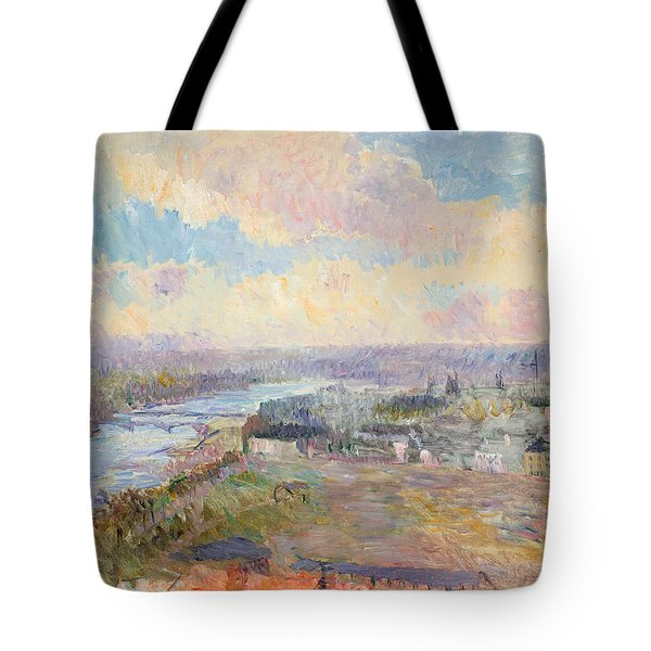The Seine At Rouen Tote Bag by Albert Charles Lebourg