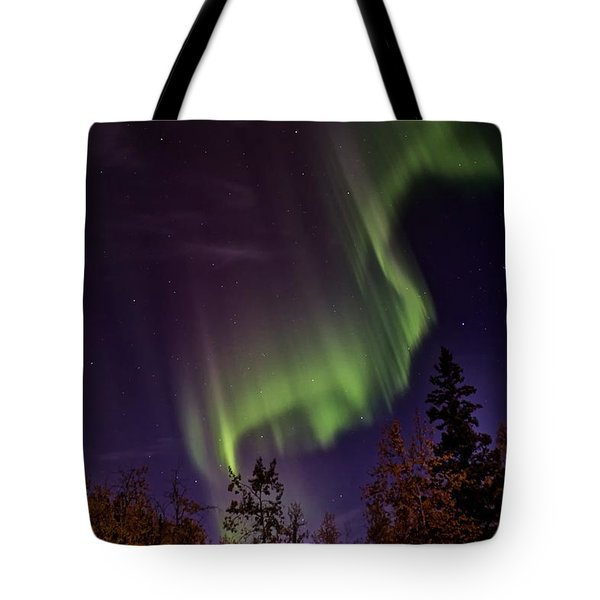 Tote Bag featuring the photograph The September Aurora Fairbanks Alaska by Michael Rogers
