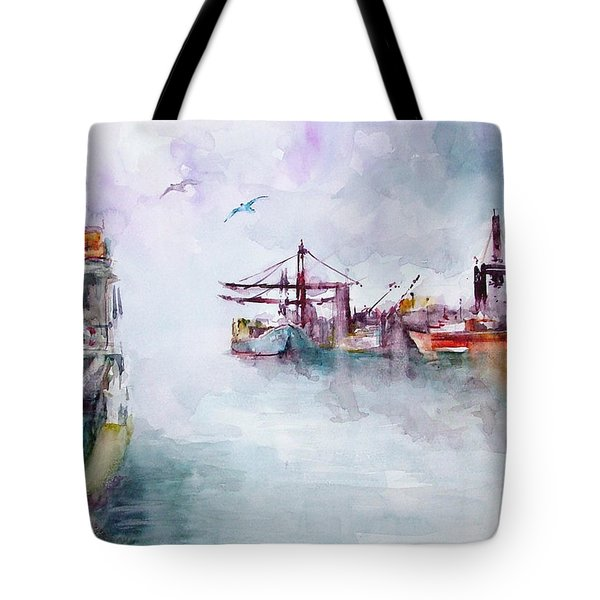 Tote Bag featuring the painting The Ship At Harbor Entrance by Faruk Koksal