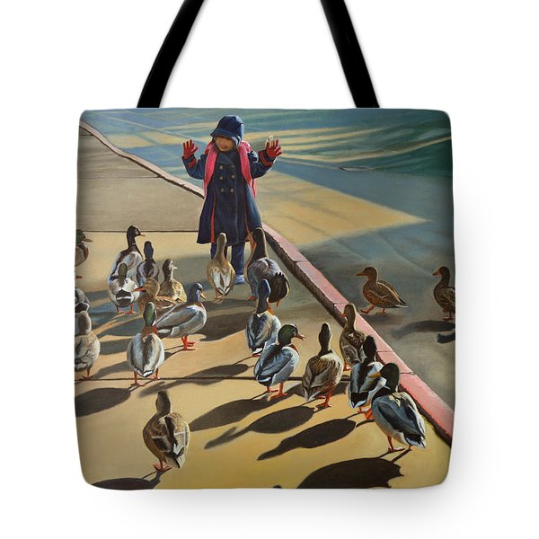 Tote Bag featuring the painting The Sidewalk Religion by Thu Nguyen