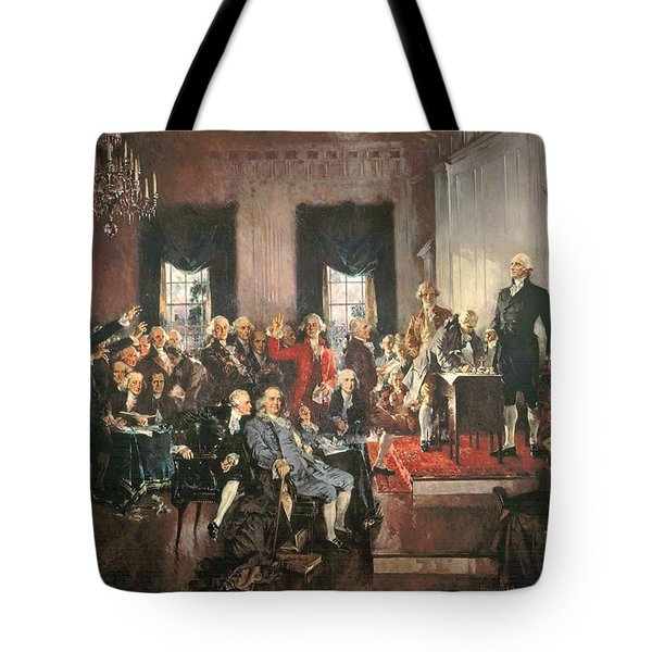 The Signing Of The Constitution Of The United States In 1787 Tote Bag by Howard Chandler Christy