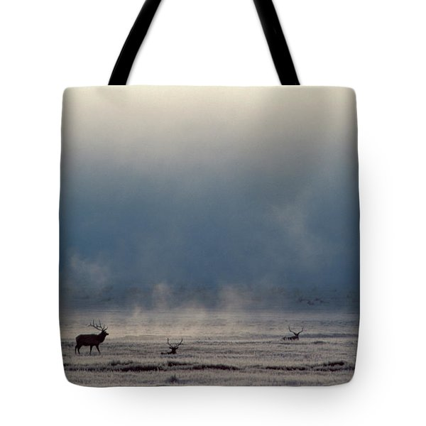 The Silhouettes Of Elk On A Frozen Tote Bag