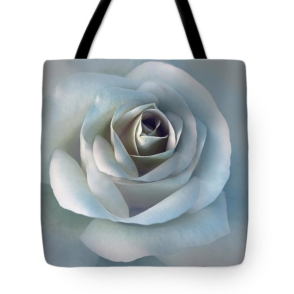 The Silver Luminous Rose Flower Tote Bag