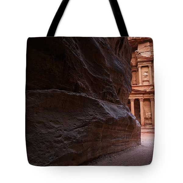 The Siq And Treasury At Petra Tote Bag by Robert Preston