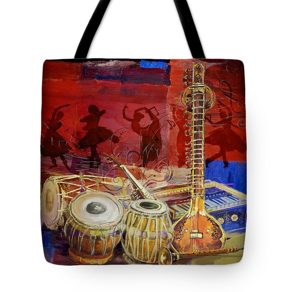 The Sitar Dhol Tabla And Harmonium Tote Bag