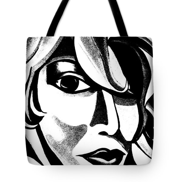 Black And White Abstract Woman Face Art Tote Bag