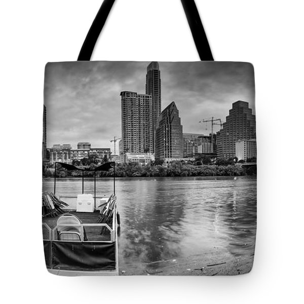 The Sky Is Will Be Crying Austin Texas Skyline Tote Bag by Silvio Ligutti