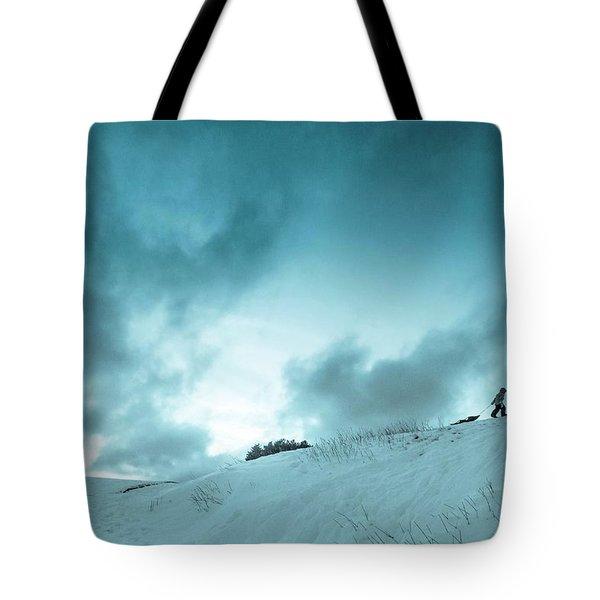 The Sledding Hill Tote Bag by Mary Amerman