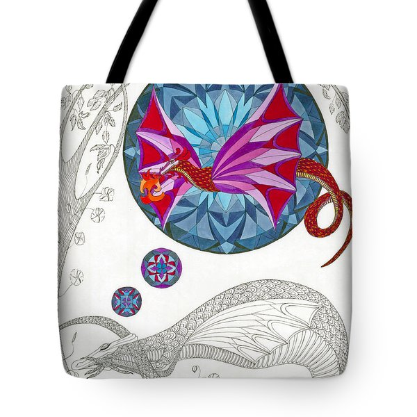 Tote Bag featuring the drawing The Sleeping Dragon by Dianne Levy