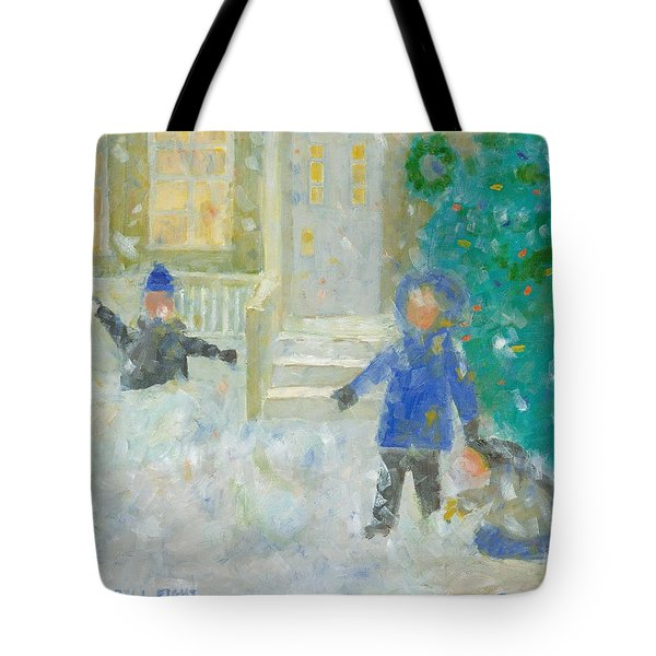 The Snowball Fight Tote Bag