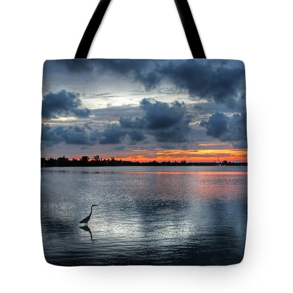 The Solitary Fisherman - Florida Sunset Tote Bag by HH Photography of Florida
