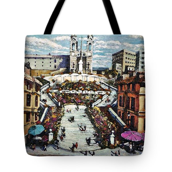 Tote Bag featuring the painting The Spanish Steps by Rita Brown