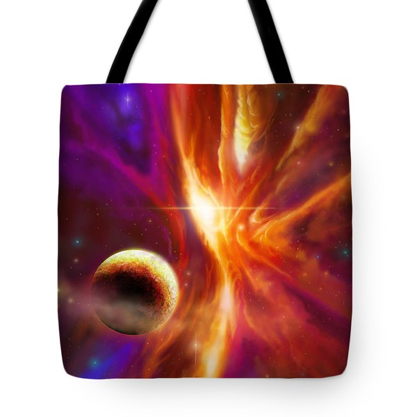 The Spirit Realm Of The Saphire Nebula Tote Bag by James Christopher Hill