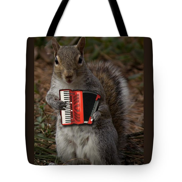 The Squirrel And His Accordion Tote Bag