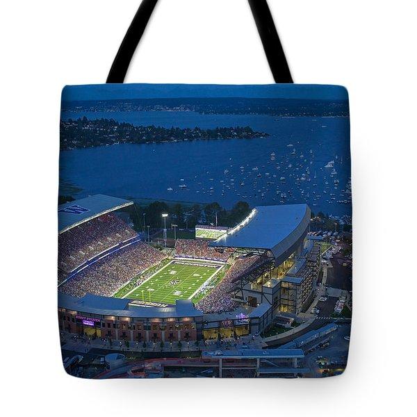 Husky Stadium And The Lake Tote Bag