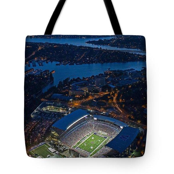 Husky Stadium At Dusk Tote Bag