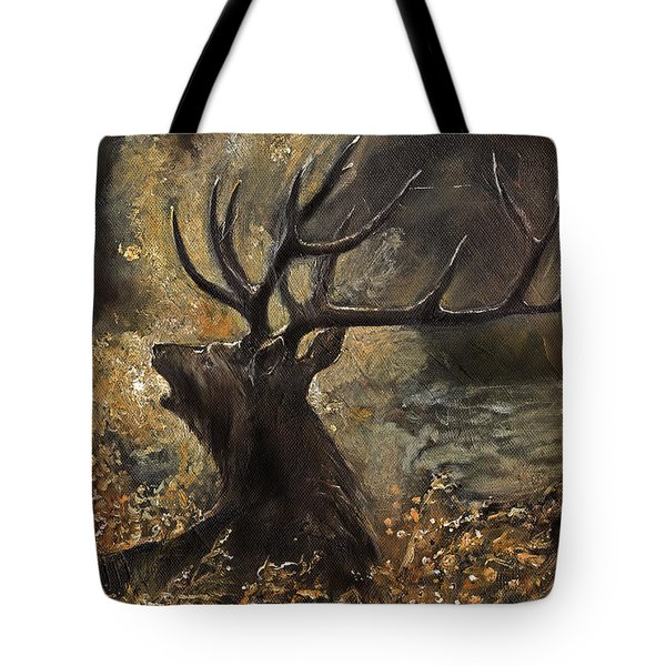 the Stag sitting in the grass oil painting Tote Bag by Angel  Tarantella