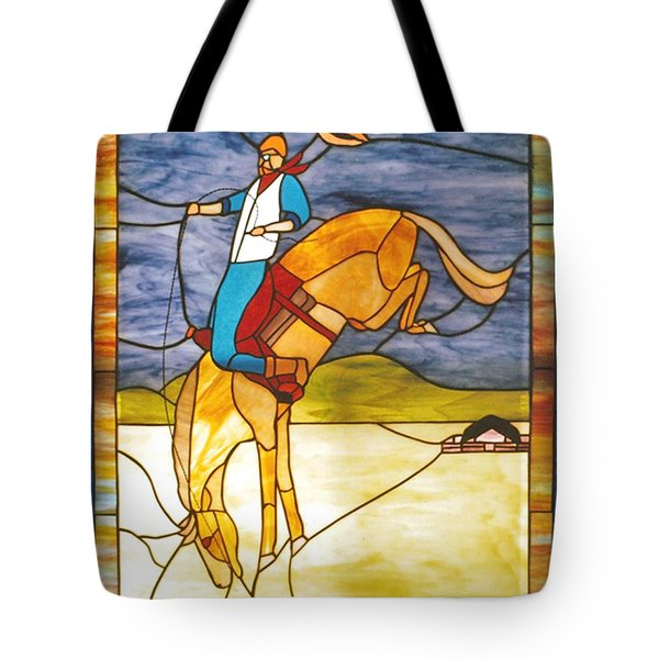 The Stained Glass Cowboy Riding Out The Bucks Tote Bag