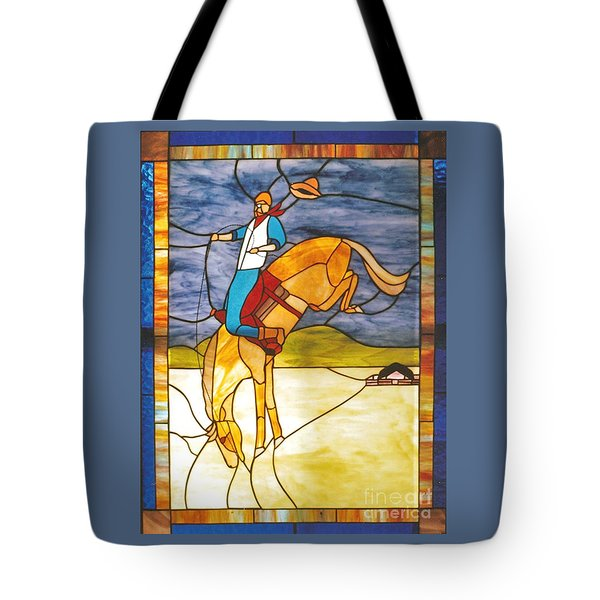 The Stained Glass Cowboy Riding Out The Bucks Tote Bag by Patricia Keller