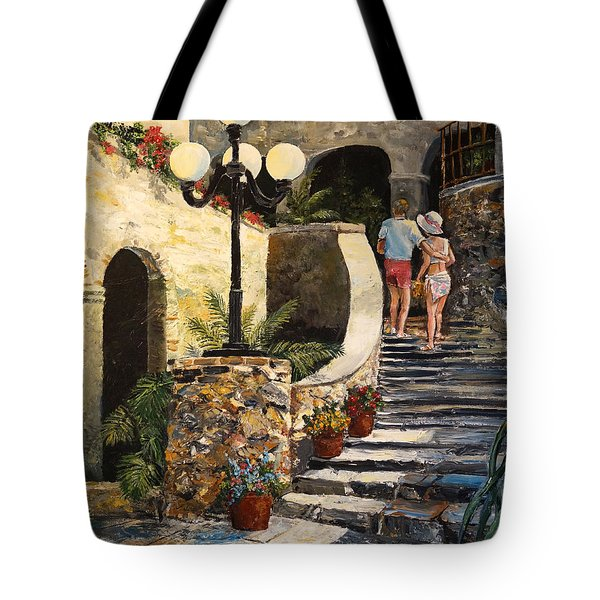 Tote Bag featuring the painting The Steps by Alan Lakin