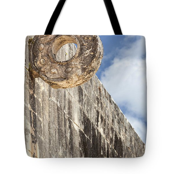 Tote Bag featuring the photograph The Stone Ring At The Great Mayan Ball Court Of Chichen Itza by Bryan Mullennix