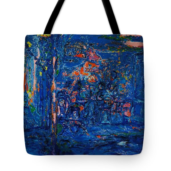The Street Cafe Oil On Canvas Tote Bag