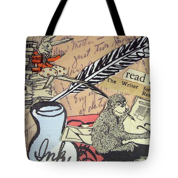 Tote Bag featuring the drawing The Studious Rabbit And The Monkey by Eloise Schneider